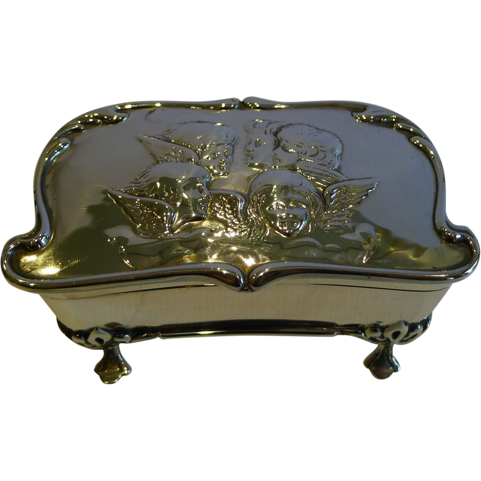 Antique Art Nouveau English Sterling Silver Jewelry Box - Reynold;s Angels