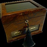 Antique English Walnut & Glass Jewelry Box c.1890