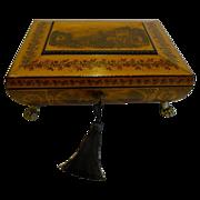 Fine Quality English Regency Penwork Jewelry Box c.1820