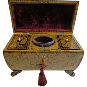 Fabulous Antique English Penwork Double Compartment Tea Caddy c.1820