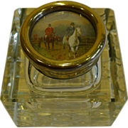 Large Antique, English Cut Crystal Inkwell - Hunt Scene Top c. 1910