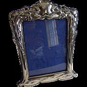Large Antique English Art Nouveau Sterling Silver Photograph Frame 1902