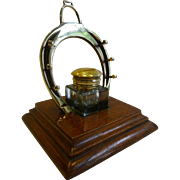 Antique English Equestrian Inkwell and Pen Stand c.1890