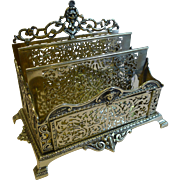 Grand Antique English Brass Stationery Rack / Holder