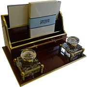 Antique French Mahogany and Brass Desk Set - Inkwell and Stationery Holder