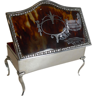 Large Antique English Sterling Silver and Tortoiseshell Jewelry Box - 1913