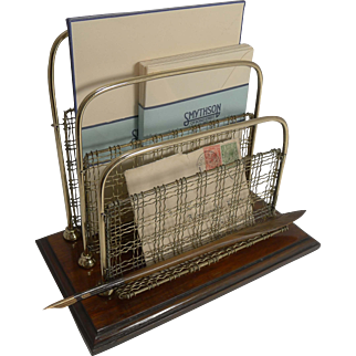 Unusual Antique English Oak and Brass Mesh Stationery / Letter Holder by William Tonk and Sons.