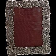 Stunning Antique English Cast Sterling Silver Photograph Frame - Cherubs - 1887