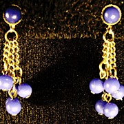 Vintage Gold Tone Majestic Blue Dangling Bead Costume Jewelry Clip Earrings