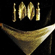 Vintage Gold Tone Mesh Scarf / Bib, with Three Sets of Gold Tone Mesh Earrings