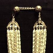 Vintage White and Silver Tone Multi 14-Chain Costume Jewelry Necklace