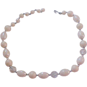 Crystals~Simulated Creamy Pearls~Pearlized Beads Choker~Necklace~JAPAN