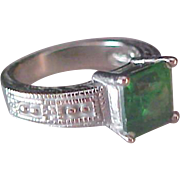 Simulated Green Emerald  Square Cut Stone ~Antiqued Textured Silver Plate Ring ~ Size 7