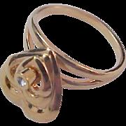 Charming Unique~Dangle TRIO of HEARTS~ Rhinestone!Gold Plate Ring ~ Size 6