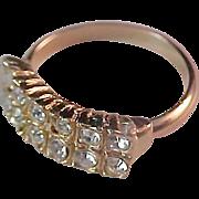 Glamorous Two Row Pave Diamante Gold Plate Wedding Band ~ Size 5