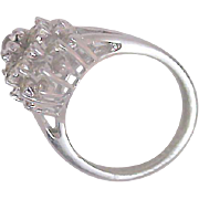 Highly Domed  DIAMANTE CLUSTER Signed Silver Plate Ring ~ Size  5