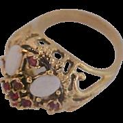 Lavish Simulated Oval Opals~Blood Red Garnets~18K TM GE~ Filigree Ring~ Size 7 1/2