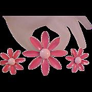 Summer Rose & Baby Pink Enamel~All Metal DAISY Brooch & Earring Suite