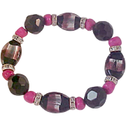 Amazing Pink~Silver~Black Glass Crystals & Flat Bead Bracelet