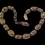 SALE Gold & Black Oblong Beads~Black Crystal & Rhinestone Rondells Necklace
