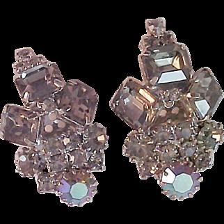 SALE Vintage Luxurious Black Diamond & Aurora Borealis Silver Plated Clip Earrings