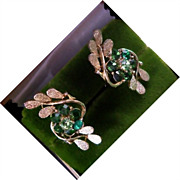 CORO Green Emerald and Peridot Rhinestone Clip Earrings