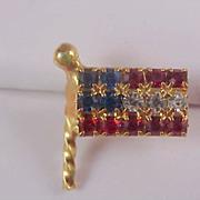 Celebrate America~USA Red-White~Blue Rhinestone Lapel Pin or Tie Tac