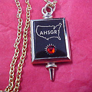 German Ruby Pendant and Gold Plate Chain