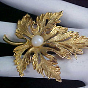 FABULOUS - Oak Leaf & Simulated Pearl  Crafted in Gold Plate