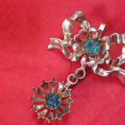 DECEMBER BIRTHSTONE - 1940's Aquamarine Dangle Gold Plate Pendant