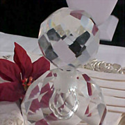 SALE Impeccable  Bohemian Hand Cut Heavy LEAD CRYSTAL Perfume Bottle ~ 1 1/2 lbs.Before packing)