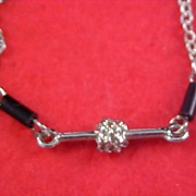 FREE SHIPPING - Jet Barrel Bead & Silver Plate Sautoir Necklace