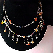 Signed Premier Designs - 2 Strand CRYSTAL & QUARTZ Beads Dangle Necklace