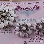 Free Ship~Milk Glass Smoky Rhinestone Demi Parure - Brooch & Earrings