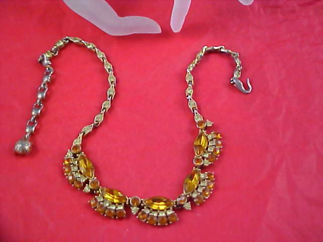 Pale and Honey Amber Rhinestone Necklace/Choker
