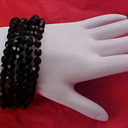 Hand Cut Black Crystal 5 row Wired Bracelet