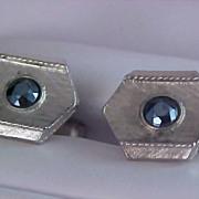 ART DECO Blue Faceted Rhinestone Silver Plate Cuff Links