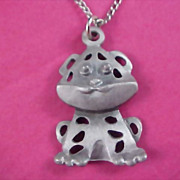Mid Century  PEWTER KITTY Cut Work Figural Pendant and Chain