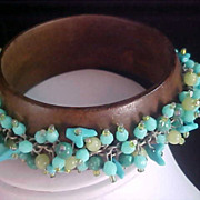 Simulated Glass Turquoise & Pale Green Dangles CHA CHA Brown Wooden Bangle