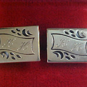 1950's Trademark FOSTER P.P. Engraved Initial K.H. Cuff Links