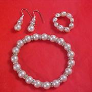 Simulated Pearls & Diamante Rondelles Full Parure - Bracelet - Ring - Earrings