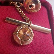 SAXONY Cognac Faceted Stone - Gold Plate 1950's Tie Tac Original Red peau-de-soie jewelry box