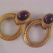 Amethyst ART GLASS Gold Plated  Door Knocker Clip Earrings
