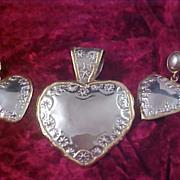FREE Ship ~ Exquisite  Gold & Silver Plate HEART Demi Parure - Pendant & Post Earrings