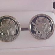 SWANK - EGYPTIAN Inspired - Silver Plate & Black Enamel Men's Cuff Links
