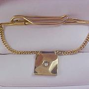 Diamante & Gold Plate  Pat.Pend Signed Dangle Tie Bar Clasp