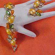 Peach & Tangerine Cabochons & Rhinestone Demi Parure - Bracelet & Clip Earrings