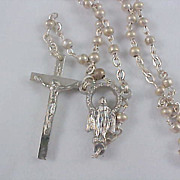 Silver Plate 1930's ROSARY - Trademark ITALY - Dainty & Delicate Workmanship