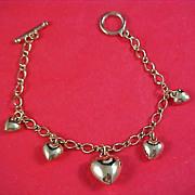 SALE PUFFY HEARTS  Gold Plate Hearts Charm Bracelet