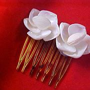 White Celluloid Clam Shells Hair Ornament~Comb